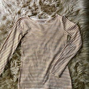 J Crew Gold and Cream Striped Pullover